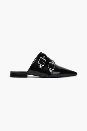 VICTORIA BECKHAM Buckled studded patent-leather slippers