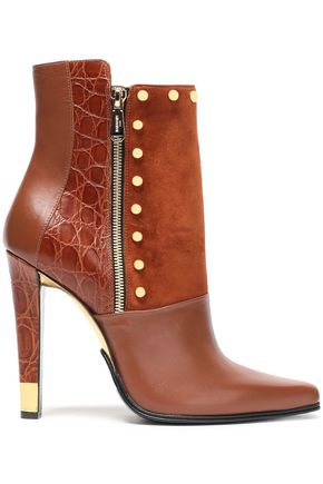 BALMAIN Studded croc-effect, smooth leather and suede ankle boots