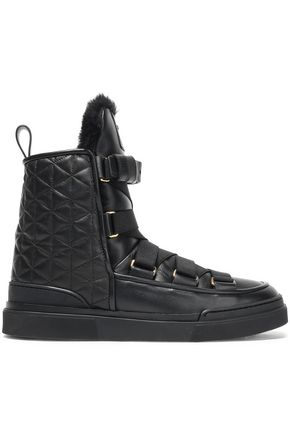 BALMAIN Apollonia shearling-lined quilted leather ankle boots
