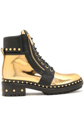 BALMAIN Studded mirrored-leather ankle boots