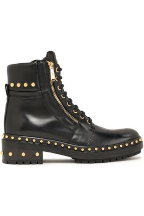 BALMAIN Army studded glossed-leather ankle boots