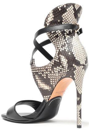 BALMAIN Python and leather sandals