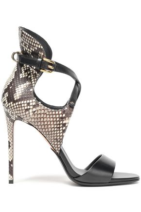 BALMAIN Python and leather sandals