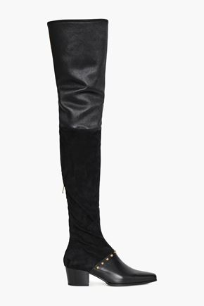 BALMAIN Billie suede-paneled studded stretch-leather thigh boots