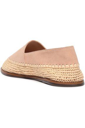 SCHUTZ Suede and raffia slippers