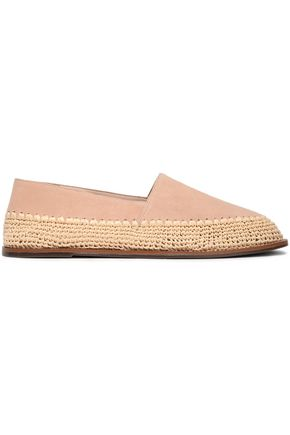 SCHUTZ Suede and raffia slippers