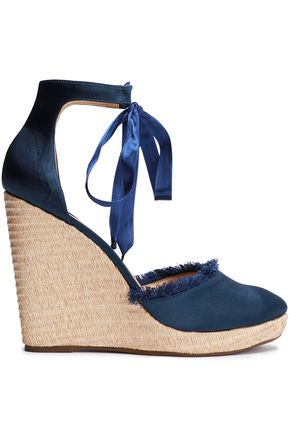 SCHUTZ Frayed satin wedge espadrille sandals