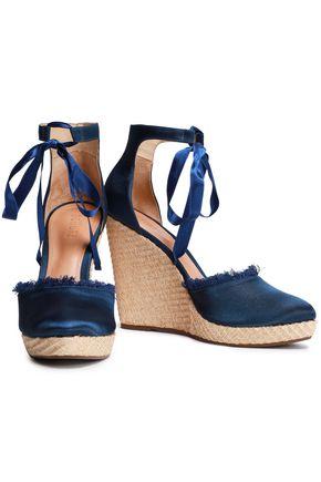 SCHUTZ Frayed satin wedge espadrille sandals