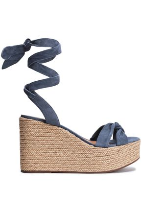 SCHUTZ Twist-front suede wedge espadrille sandals