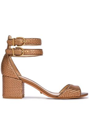 SCHUTZ Metallic woven leather sandals