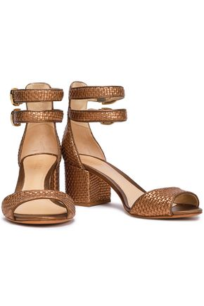 SCHUTZ Metallic woven leather sandals