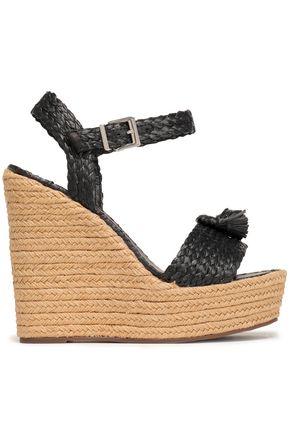 SCHUTZ Braided raffia wedge espadrille sandals