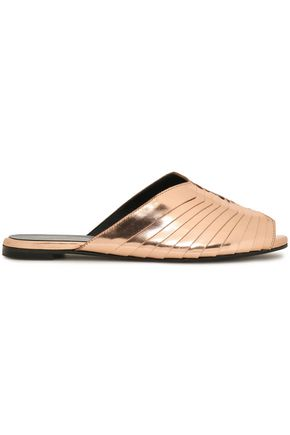 ROBERT CLERGERIE Gamure paneled metallic leather slides