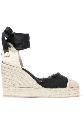 CASTAÑER Catalina 80 frayed canvas wedge espadrilles