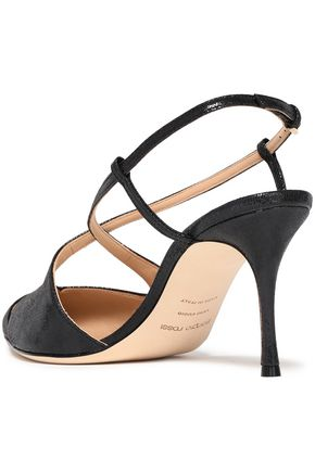 SERGIO ROSSI Bon Ton textured glossed-leather slingback pumps