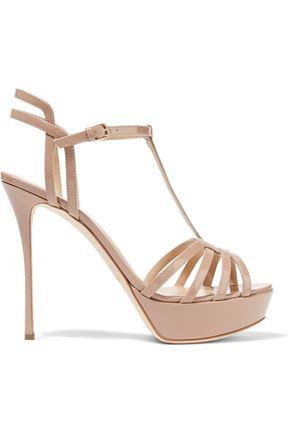 SERGIO ROSSI Cutout patent-leather platform sandals