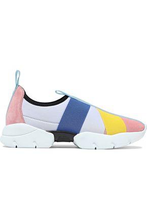 EMILIO PUCCI Color-block suede-paneled stretch-jersey slip-on sneakers