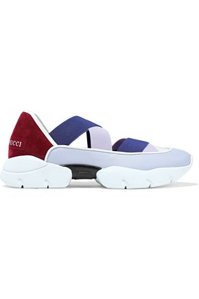 EMILIO PUCCI Color-block leather and suede slip-on sneakers