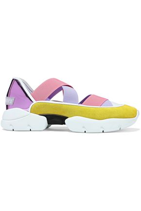 EMILIO PUCCI Color-block mirrored-leather and suede slip-on sneakers