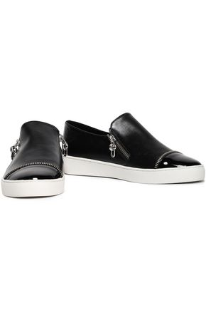 MICHAEL KORS COLLECTION Zip-detailed leather slip-on sneakers