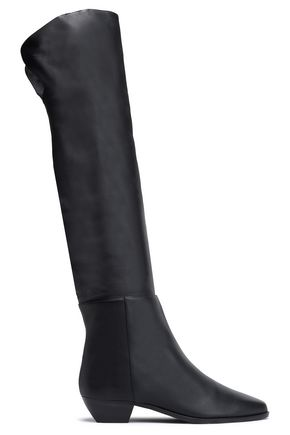 MICHAEL KORS COLLECTION Pebbled-leather thigh boots