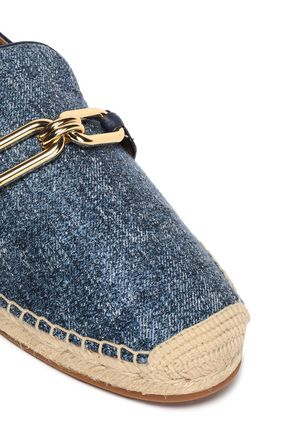 MICHAEL KORS COLLECTION Embellished leather-trimmed denim espadrilles