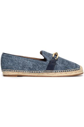 MICHAEL KORS COLLECTION Embellished leather-trimmed denim espadrilles