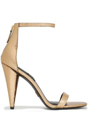 MICHAEL KORS COLLECTION Metallic cracked-leather sandals