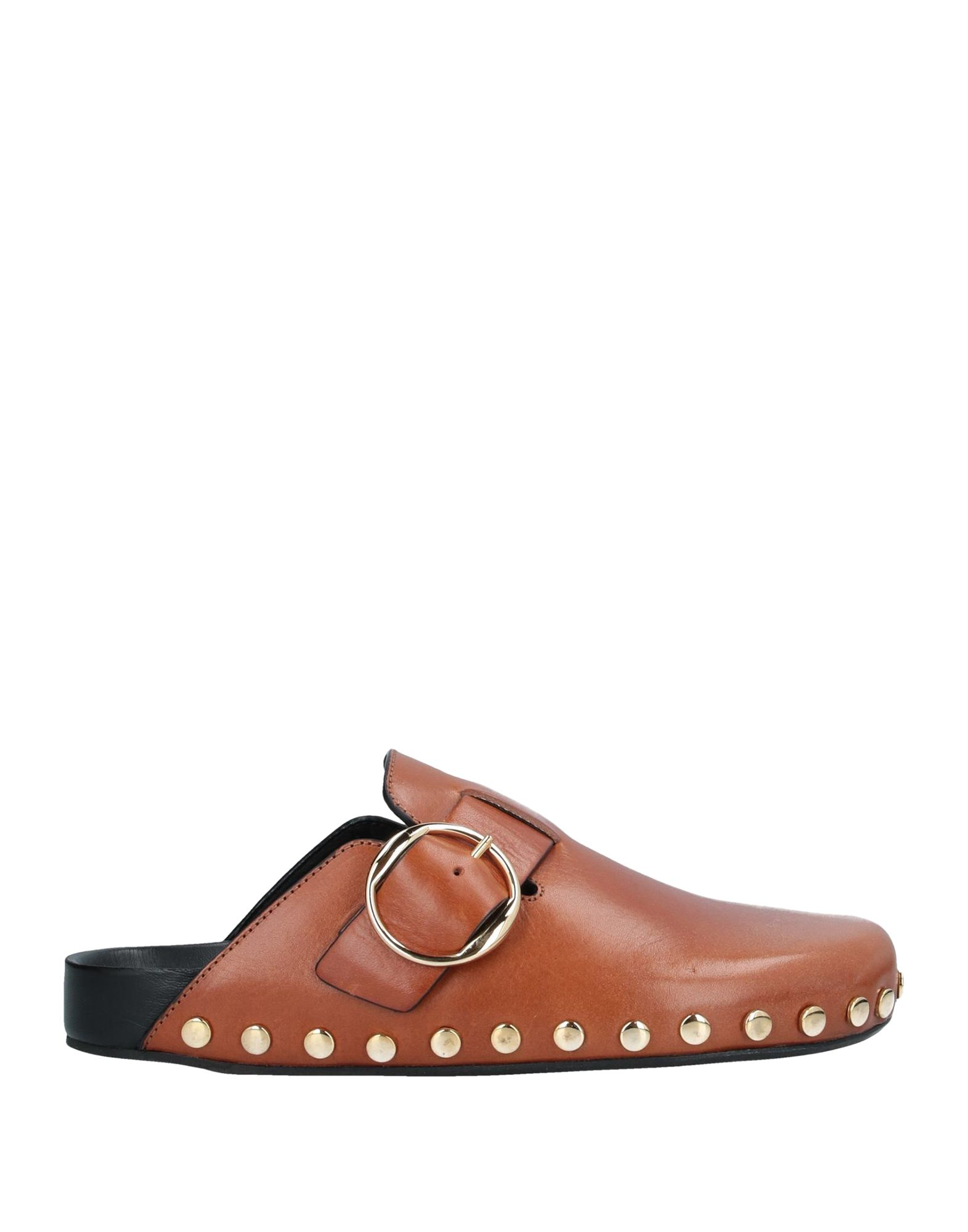 ISABEL MARANT Mules. metal applications, solid color, buckle, round toeline, flat, leather lining, leather sole, contains non-textile parts of animal origin, small sized. Calfskin