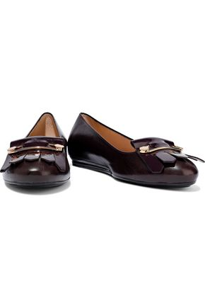 TOD'S Fringed patent and smooth-leather ballet flats