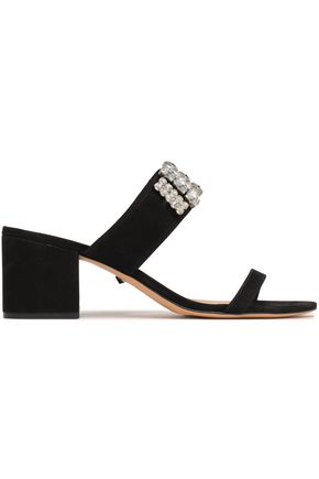 SCHUTZ Crystal-embellished suede sandals