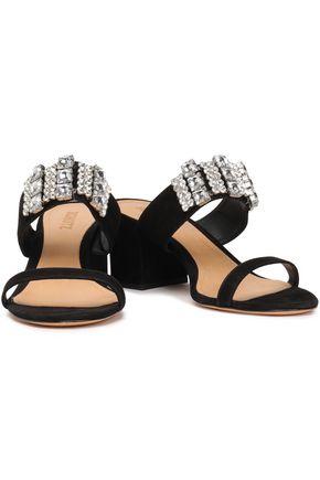 SCHUTZ Crystal-embellished suede sandals