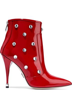 PAUL ANDREW Citra crystal-embellished patent-leather ankle boots