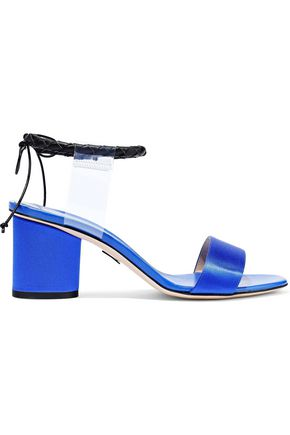 PAUL ANDREW Braided leather-trimmed PVC and satin sandals