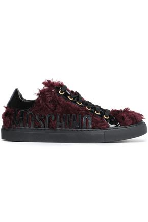 MOSCHINO Faux feather and patent-leather sneakers