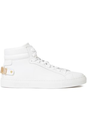 MOSCHINO Embellished leather high-top sneakers