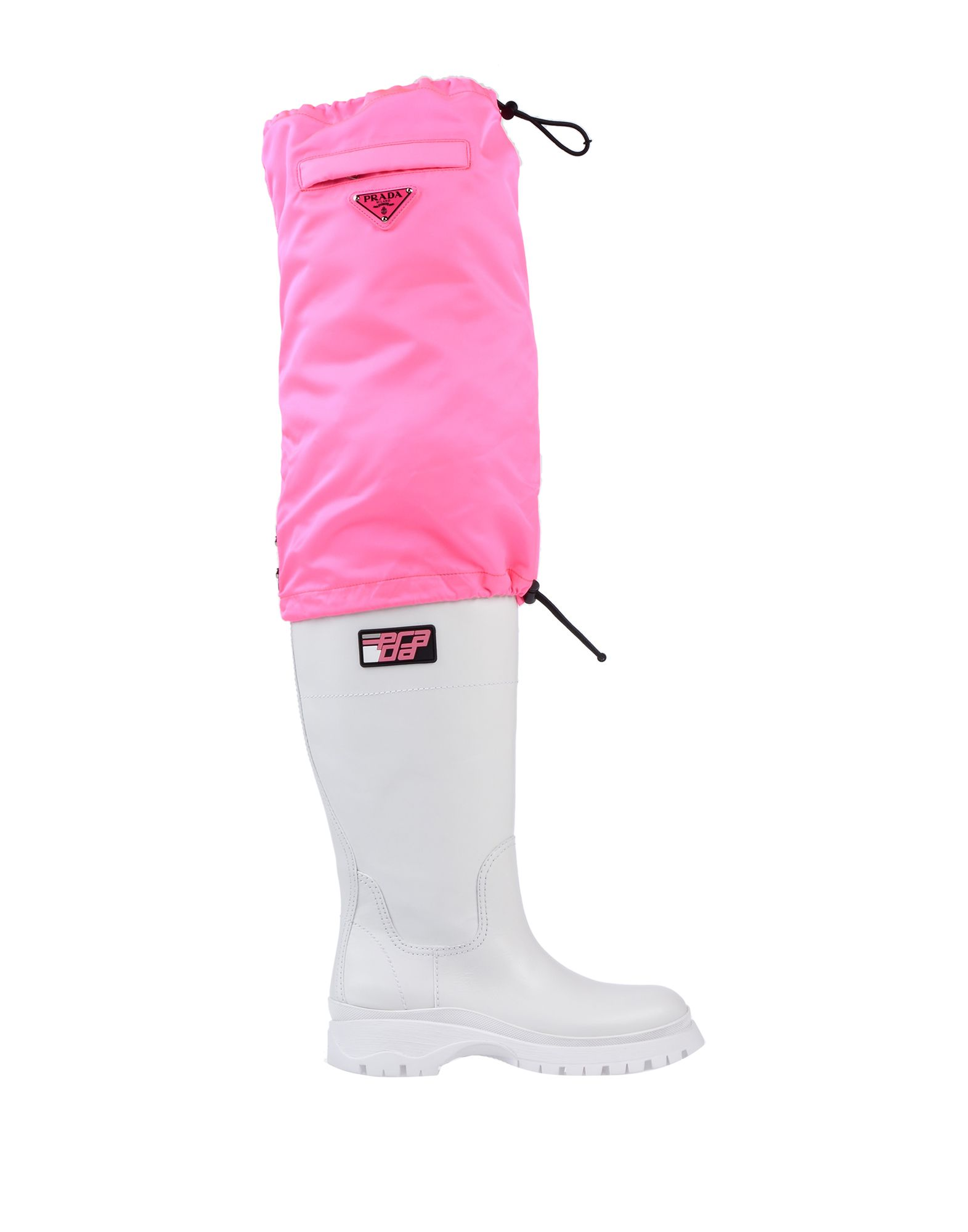 prada pink and white boots