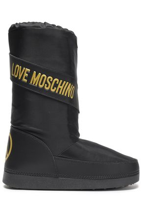 LOVE MOSCHINO Embossed faux leather-trimmed shell snow boots