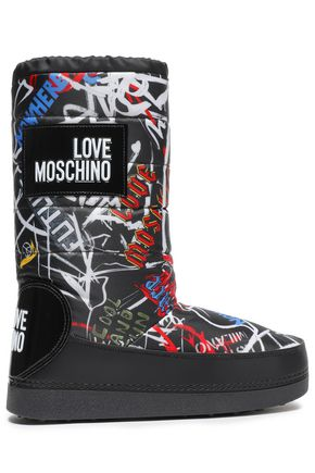 LOVE MOSCHINO Appliquéd printed shell snow boots