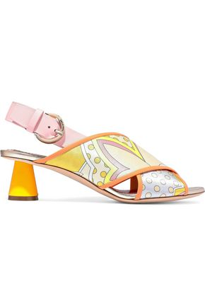 EMILIO PUCCI Leather-trimmed printed satin-twill slingback sandals