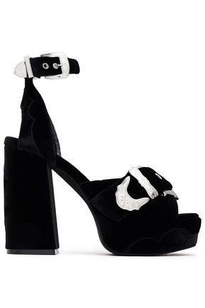 McQ Alexander McQueen Buckled velvet platform sandals