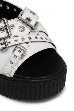 McQ Alexander McQueen Buckled textured-leather platform slides