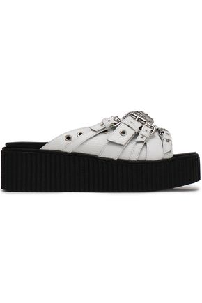 McQ Alexander McQueen Buckled textured-leather platform slides
