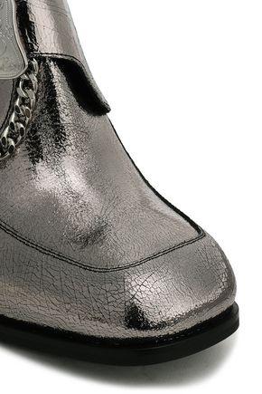 McQ Alexander McQueen Buckled metallic leather pumps