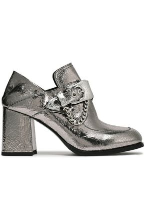 McQ Alexander McQueen Buckled metallic leather pumps