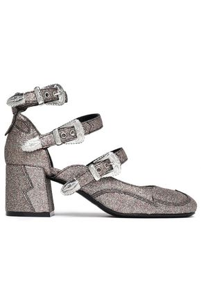 McQ Alexander McQueen Buckled glittered leather pumps