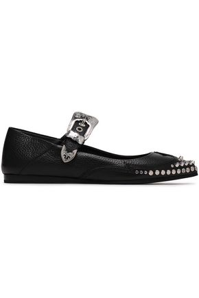 McQ Alexander McQueen Studded textured-leather point-toe flats