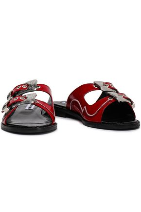 McQ Alexander McQueen Moon buckled crinkled patent-leather slides