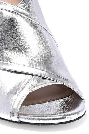 STUART WEITZMAN Metallic textured-leather mules