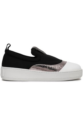 McQ Alexander McQueen Metallic cracked leather-trimmed neoprene slip-on sneakers